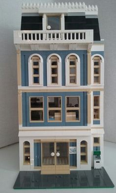 Lego, bank and 3 story apartment.