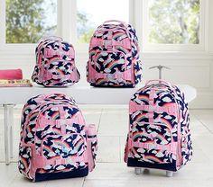 Mackenzie Navy Rainbow Unicorn Backpack | Pottery Barn Kids