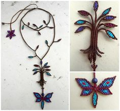 macrame necklace.. branches, leaves, flower