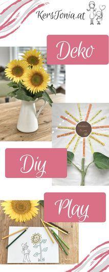 Alles rund um die Sonnenblume: DIY-, Deko- & Spiel-Ideen inkl. Freebie zum kostenlosen Download gibt's hier. DIY - Deko / Home / Interior / Play. Sunflower Ideas. Sunflower Decoration. Sunflower Craft.