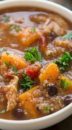 (Slow Cooker) Sweet Potato, Chicken, and Quinoa Soup