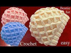 Gorro tejido en punto de rombos en relieve 3D a Crochet tallermanualperu - YouTube