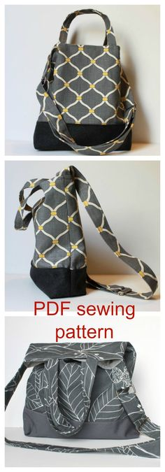 Instant download pdf sewing pattern for The Kara Tote Bag.