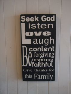 New Subway style art sign-Typography Christian  family values, sayings 12x24 black and white. $50.00, via Etsy.