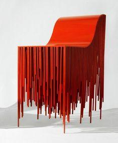 chaise de bar haute rouge extraordinaire style futuriste