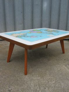 Vintage 60′s Map Desk Coffee Table. Cute for a playroom or a classroom