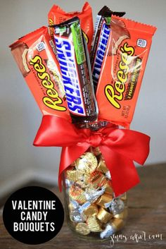 Mason Jar Valentine Gifts and Crafts DIY Ideas for Valentines Day for Cute Gift Giving and Decor Valentine Candy Bouquets http:mason-jar-valentine-crafts Diy Valentine's Candy Bouquet, Valentine Bouquet, Man Bouquet, Bouquet For Men, Valentines Bricolage, Valentine Day Crafts, Kids Valentines, Valentine Ideas, Valentines Day Baskets