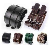 Wish | 2 Layer Punk Belt Men Genuine Cow Leather Bracelet Wristband Cuff Bangle Gif women Leather Bracelet unisex Leather Bracelet