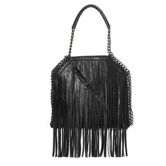 Lisa B. Collection Black Fringe-Accent Tote (14.390 HUF) found on Polyvore featuring women's fashion, bags, handbags, tote bags, fringe purse, bohemian tote bag, bohemian purses, tote handbags and faux-leather handbags
