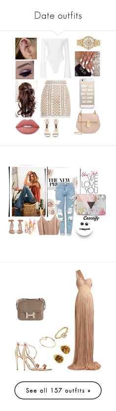 """""""Date outfits"""" by caitlin1d23-07-10 ❤ liked on Polyvore featuring Alix, Balmain, Forever New, Lime Crime, Chloé, Casetify, Michael Kors, Gianvito Rossi, Topshop and Fallon"""