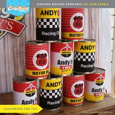 These items are CUSTOMISED DIGITAL files. No physical products will be shipped.  - - - - - - - - - - - - - - - - - - - - - - - -  ITEM DETAILS  This listing includes 3 x different oil can labels customised with your childs name and age.  Each oil can label measures 245mm(w) x 100mm(h) to fit standard 400g food tins. In US measurements, they are 9.6(w) x 3.9(h) to fit 14.1oz cans.  These labels can be resized to fit the cans you have. Please advise what the width and height of the existing…