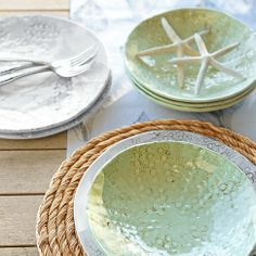 Williams -Sonoma, Coastal Melamine Dinner Set  -  a great combination of sea-grass, weathered wood, and shells