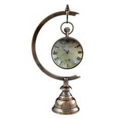 Library Eye of Time with Stand - Solid brass base and hanger in duo-toned bronzed finish.
