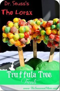 "Dr. Seuss's ""The Lorax"" Truffula Tree Treats! Dr. Seuss Birthday Party Ideas 