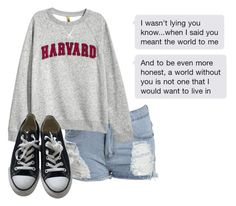 """""""Untitled #438"""" by dyingflowers ❤ liked on Polyvore featuring Boohoo, H&M and Converse"""