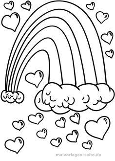 Malvorlage / Ausmalbild Regenbogen Herzen - Kostenlose Malvorlagen / Ausmalbilder - Free Coloring pages for Kids | #malvorlagen #download #free #kostenlos #malvorlage #ausmalbild #ausmalbilder #coloring #outline #coloringpage #outlineart