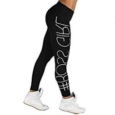 175096602ac5 Minisoya Women s Letters Printed High Waist Sports Gym Yoga Pants Gym  Running Fitness Leggings Athletic Workout Trousers (Black