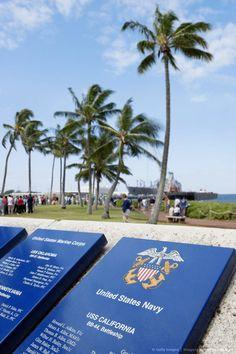 Memorial plaques in a park, Pearl Harbor, Honolulu, Oahu, Hawaii Islands.