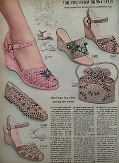 Vintage Shoes Women, Vintage Outfits, Vintage Fashion, Vintage Clothing, Vintage Style, Pin Up Shoes, Womens Summer Shoes, Sixties Fashion, Italy Fashion