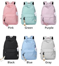 Sweet Simple Pure Color Large Waterproof High School Bag Student Backpack cloth/PolyesterStyle:Fresh/Leisure/CollegeFashion Element: SimpleCapacity:Can hold 14 inch laptop/can hold paper/inner zipper pockets Cool School Bags, High School Bags, Cute Backpacks For School, Stylish Backpacks, School Bags For Girls, Cool Backpacks, Teen Backpacks, College Backpacks, Canvas Backpacks