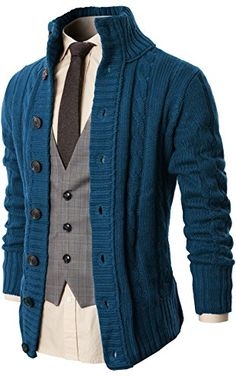 H2H Mens Casual High Neck Twisted Knit Cardigan Sweater With Button Details DARKBLUE US M/Asia L (KMOCAL020) ❤ ...