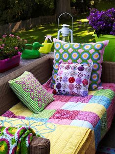 colourful quilt for garden