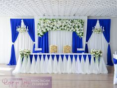 Church Royal Blue And White Wedding Decorations - mypic. Decoration Evenementielle, Backdrop Decorations, Ceremony Decorations, Wedding Reception Backdrop, Wedding Table, Bride Groom Table, White Wedding Decorations, Church Flower Arrangements, Wedding Background
