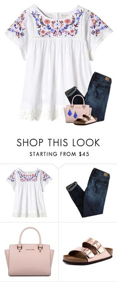 """I'm not strong enough. "" by your-daily-prep ❤ liked on Polyvore featuring Rebecca Taylor, American Eagle Outfitters, Michael Kors, Birkenstock and Kendra Scott"