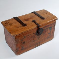 A good 18th century Spanish colonial box with original strap hinges, iron hasp and lock-plate.