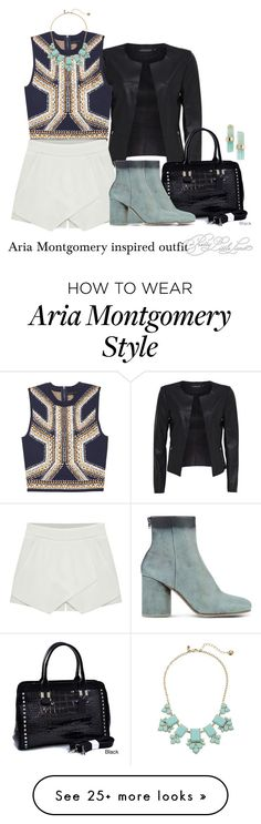 """Aria Montgomery inspired outfit/PLL"" by tvdsarahmichele on Polyvore featuring Eloqueen, Dasein, Kate Spade, Maison Margiela and Melissa Joy Manning"