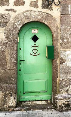 Agde, Hérault, France Faith, hope and charity symbol Antique Doors, Old Doors, Back Doors, Windows And Doors, Entrance Ways, Entrance Doors, Doorway, Portal, Knobs And Knockers