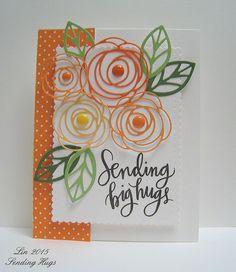 MFT Scribble Roses Overlay Dies Essentials by Ellen Leaves Die Simon Says Stamp Big Scripty Greetings