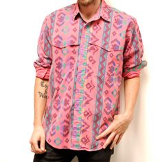 SOUTHWESTERN native american COTTON button up shirt made in usa