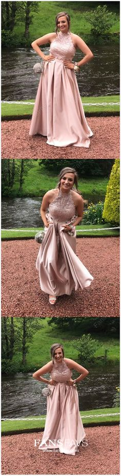 Two Piece Formal Dresses Pink, Princess Prom Dresses Long, High Neck Evening Dresses Satin, Open Back Wedding Party Dresses Lace Junior Prom Dresses, Princess Prom Dresses, Cheap Homecoming Dresses, Pink Prom Dresses, Cute Dresses, Evening Dresses, Party Dresses, Occasion Dresses, Women's Dresses
