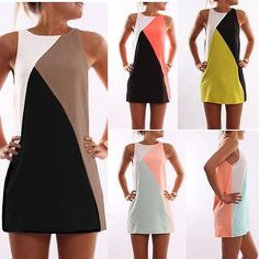 Women Summer Casual Sleeveless Casual Evening Party Cocktail Short Mini Dress