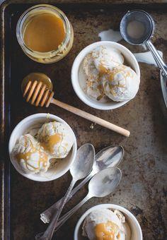Tahini Ice Cream with Honey Caramel // butterlust.com