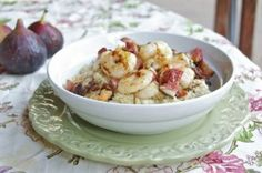 Shrimp, Bacon and Figs with Goat Cheese Quinoa Drizzled with Fig Balsamic