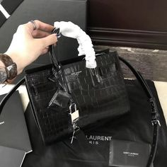 bf36a2a3a2 Saint Laurent 340778 Classic Nano Sac De Jour Bag in Embossed Crocodile  Shiny Leather Black 2018 ] : Real Purse. Luxury Purses · Saint Laurent Bags  Sale