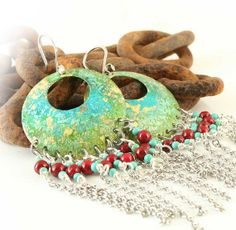 Sexy Chandelier Earrings,  Southwestern, Western Style, Verdigris, Turquoise, Red, Green, Chain