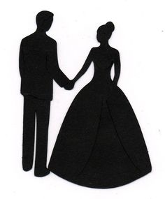 Holding hands Bride and Groom Wedding Silhouette die cut for scrap booking or card making