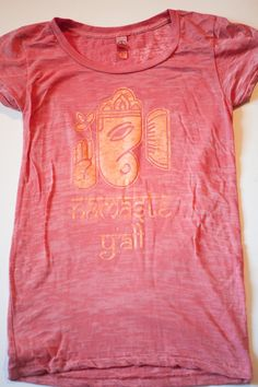Ganesha namaste y'all screen printed on coral burnout tshirt Alternative Apparel womens S, M, L, XL. $34.00, via Etsy.