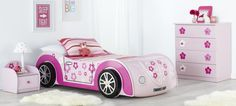 Daisy kids car bed and themed bedroom furniture suite with pink and white striped linen and décor. Available to Forty Winks Cars Bedroom Set, Bedroom Themes, Bedroom Sets, Childrens Bedroom Furniture, Childrens Beds, Kids Car Bed, One Bed, Toddler Bed, Bed Rooms