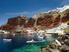 With its whitewashed cottages perched on massive, sheer-drop cliffs overlooking a velvet blue volcanic caldera, Greece's Santorini is one of those places that's almost as beautiful from afar as it is from atop. Santorini got its look from a violent volcanic eruption about 3,500 years ago.