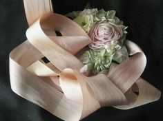 Beautiful Hand Dyed Variegated Silk Ribbon - 3Yd. Cuts - Pale Dusty Rose/Champagne - Crafts, Sewing, Antique Reporduction & Ribbonwork