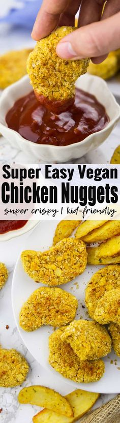 If you're looking for vegan comfort food recipes, these vegan chicken nuggets (aka chickpea nuggets) are perfect for you! They're super easy to make and so much healthier than regular chicken nuggets! Find more vegan recipes at veganheaven.org! <3