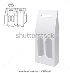 Vector Illustration of Gift Die Cut craft Box for Design, Website, Background, Banner. Folding package vine bottle Template. Clear Fold alcohol pack with die line for your brand on it. White Mockup