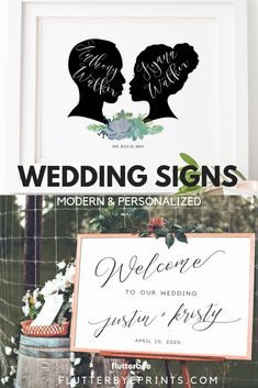 Wedding Signs - Modern wedding signs are a top trend for today's weddings.  Set the tone of your ceremony and reception with a canvas entrance sign that will welcome guests and enhance your modern wedding aesthetic. Personalized signs are perfect for your day and make a great keepsake for your home. Check out the selection at Flutterbye Prints and find one for your wedding. #modernweddingsigns #weddingaesthetic #weddingideas #weddinginspiration #personalizedweddingsigns