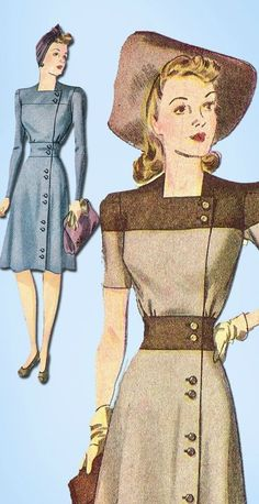Vintage Misses WWII Dress Uncut 1941 Simplicity VTG Sewing Pattern Size 14 SimplicityPattern DressPattern 40s Mode, Retro Mode, 1940s Dresses, Vintage Dresses, Vintage Outfits, Flapper Dresses, Moda Vintage, Vintage Dress Patterns, Clothing Patterns