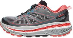 Just got these and they're as (or at least pretty much as) squishy and comfy as advertised... except for eating up my achilles and giving me blisters (day 1) so far they're way better than any of my prior runners!  Hoka One One Stinson ATR Trail-Running Shoes | REI.com