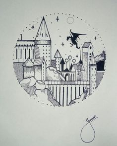 hogwarts drawing drawings doodle potter harry doodles simple sketch tattoo tattoos dessin easy cartoon castle sketches quotes theme pencil draw